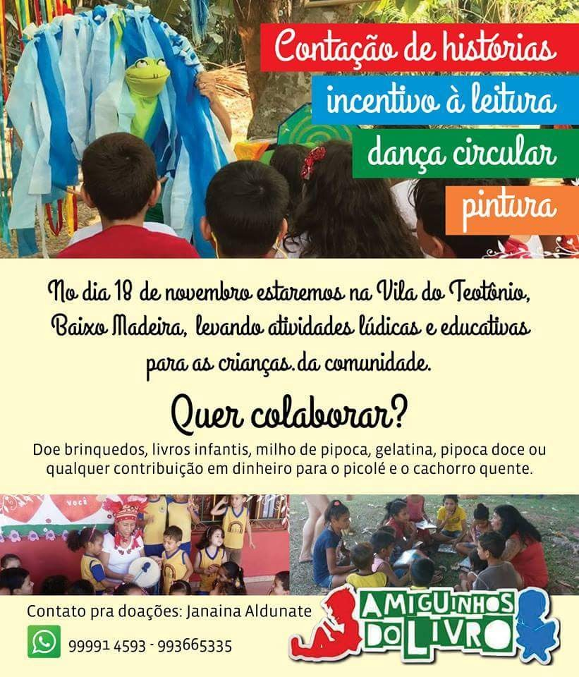 Ajude a Amiguinhos do Livro levar alegria a crianças da Vila Teotônio